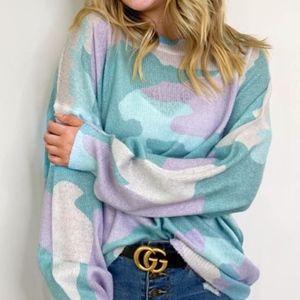 ENSLEY Knit Camo Print Sweater - TEAL MIX